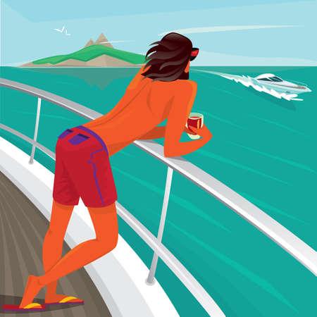 그 난간에 기대고, 칵테일을 잡고 요트를 항해하는 보트를보고 요트 갑판에 서있는 무두 질한 남자 - 호화로운 휴일 또는 낙원 쾌감 개념