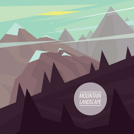steep: Autumn picturesque mountain landscape with steep ascents and descents and snowy peaks, in the fashionable flat style and square ratio Illustration