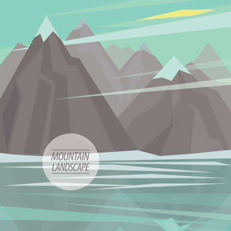 pinnacle: Autumn picturesque mountain landscape with big mountain river or mountain lake and snowy peaks, are reflected in water, in the fashionable flat style and square ratio Illustration