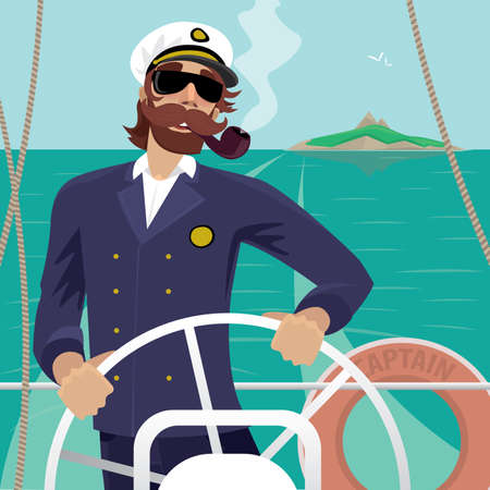 barque: Happy sea captain looks funny with a mustache and a pipe standing on the deck of the ship and rotates ship steering wheel. Sunny weather - Profession or Sailor concept