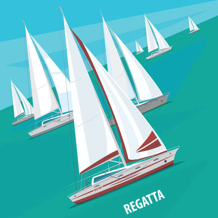 regatta: Large number of sailing boats floating right. Side view. Signature Regatta - Race sailing yachts or Parade of ships concept Illustration