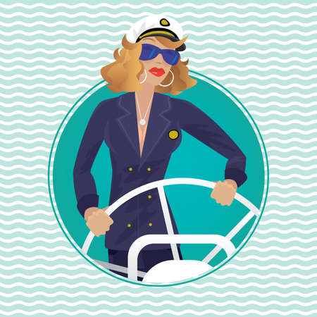 rotates: Isolated image in round frame with wave background contains serious female sea captain rotates ship steering wheel - Profession or Sailor concept