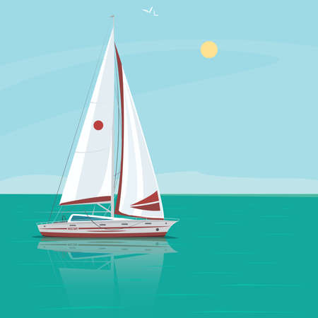 solitude: Lonely beautiful sailing yacht floats in the open ocean, the boat in the water reflection, excellent sunny weather - Weekend at sea or Solitude concept Illustration