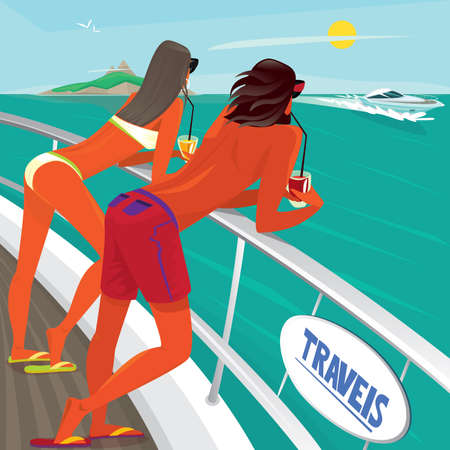 luxury yacht: Tanned young couple drinking cocktails leaning on the railing on the deck and admiring on floating next to a luxury yacht - Paradise pleasure or Exotic holidays concept