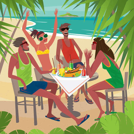 friends eating: Four friends sitting at a table on the beach, talking and eating fresh tropical fruits, palm trees around. Beautiful sunny weather - Leisure or Friendship concept