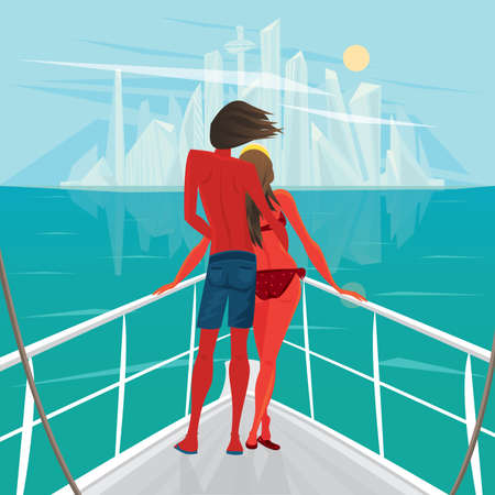 gallant: Tanned young couple standing on the deck of the ship and looks at the big modern city - End of holiday or Way home concept Illustration