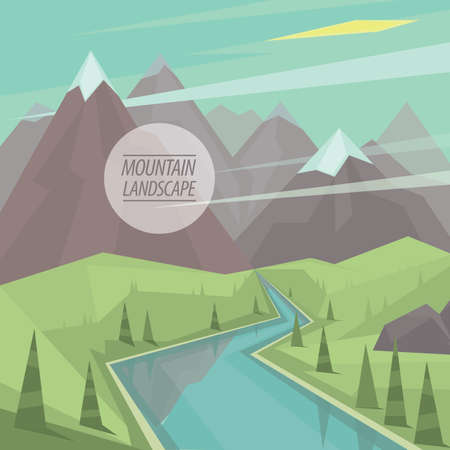 pinnacle: Beautiful summer picturesque mountain landscape with valley, winding mountain river, trees and snowy peaks, in the fashionable flat style and square ratio