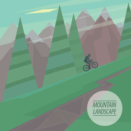 steep: Spring picturesque mountain landscape with steep slopes and winding road cyclist riding upstairs, in the fashionable flat style and square ratio