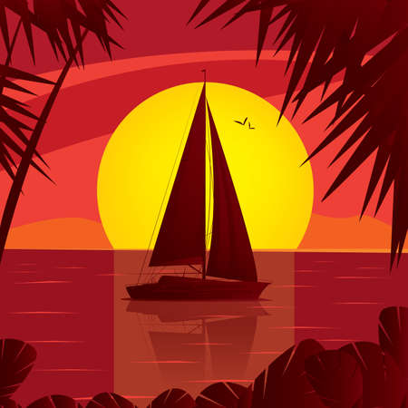 shallop: Side view silhouette of a sailing boat at sunset, which floating on the high seas. In water reflection yacht and the sun behind the ship - Leisure or Sea lover concept