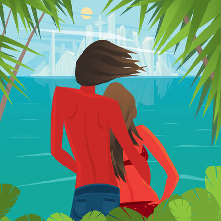 civilization: Tanned man and woman standing on the shore of the island and look at the futuristic city in the distance - Civilization or Better life concept