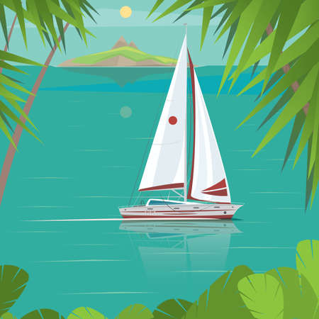 shallop: Side view of a sailing boat, which floating between the islands - Exotic holidays or Trip around the world concept