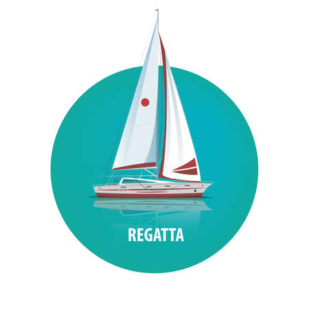 shallop: Isolated image of a sailing yacht with reflection in the water in a round white frame. Side view. Signature Regatta