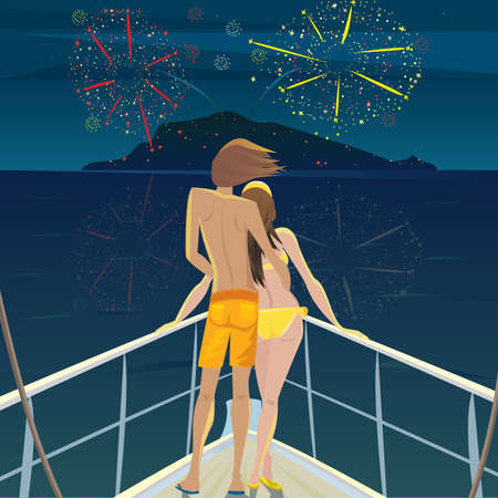 shallop: Young man and a beautiful girl standing on the deck at night and admire the fireworks over the island - Celebration or Festival concept