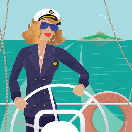Grave capitano di mare femminile in piedi sul ponte della nave e ruota nave volante. Tempo soleggiato. Dietro si può vedere l'isola - Professione o concetto di Sailor Vettoriali