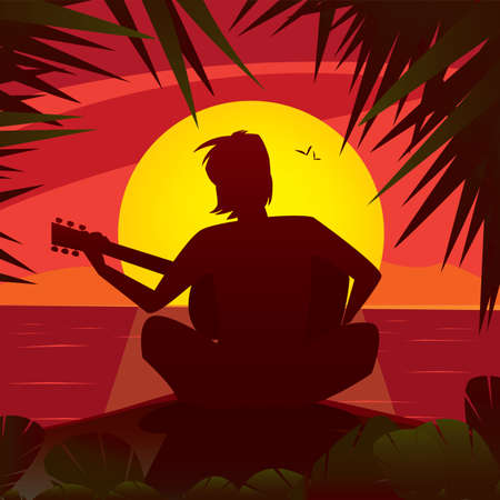 solitude: Silhouette of a romantic man playing the guitar at the sunset, sitting on the edge of the shore in exotic country - Alone with himself or Solitude concept Illustration