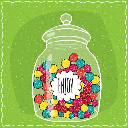안에 다채로운 라운드 사탕과 함께 큰 투명 유리 항아리. 녹색 배경입니다. 수제 만화 스타일 일러스트