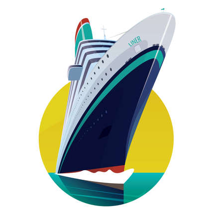 Round emblem on a white background with a modern passenger ship with the inscription liner. Front view Illustration