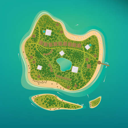 Several different sizes of tropical islands with beaches and houses in the open ocean. Around float boats. Aerial view