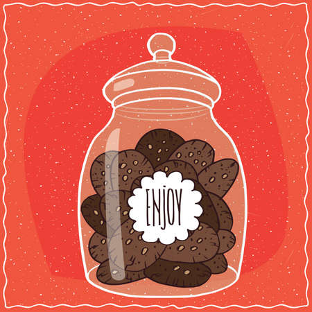 goody: Large transparent glass jar with pile of round chocolate cookies inside. Red background. Handmade cartoon style