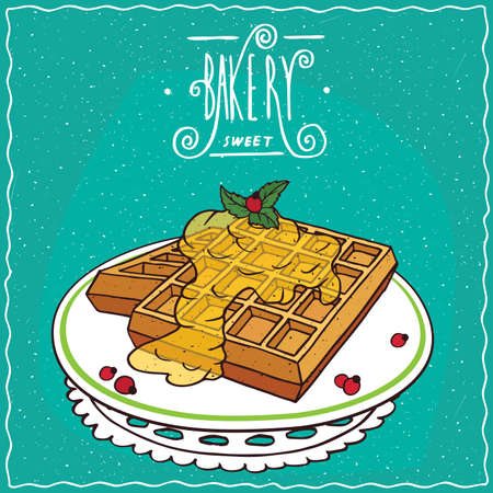starter: Belgian waffles with honey on plate, lie on lacy napkin. Cyan background and ornate lettering bakery. Handmade cartoon style Illustration