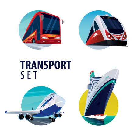 motorcoach: Set of isolated on white background vector round emblems in the same style with different types of transport, bus, train, plane, ship.
