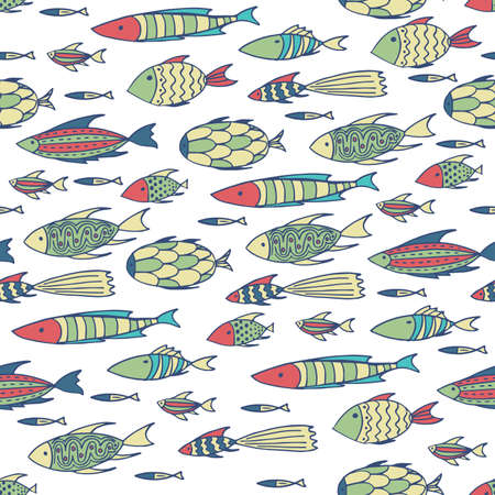 shoal: Seamless pattern with shoal of small different fishes on white background. Handmade cartoon style