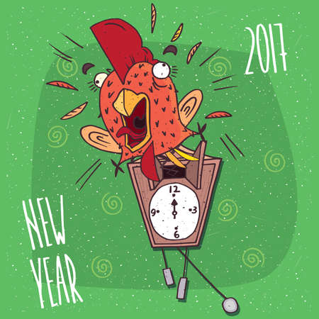 Cartoon funny cock or rooster with her mouth open jumped out of the wall clock, like the cuckoo and screaming. Green background and New Year 2017 lettering