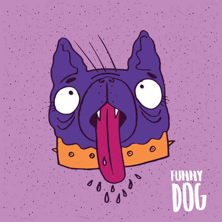drool: Cute dog with his tongue hanging out on slightly desaturated magenta background. Lettering funny dog. Handmade cartoon style