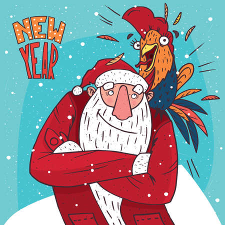 Cartoon Santa Claus standing and looking at the screaming cock or rooster, who sits on his shoulder. Blue background and New Year lettering
