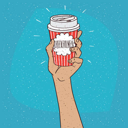 drinkable: Extended upwards hand holding shiny trendy paper cup of coffee, on which the inscription Cheerfulness. Blue background. Handmade cartoon style