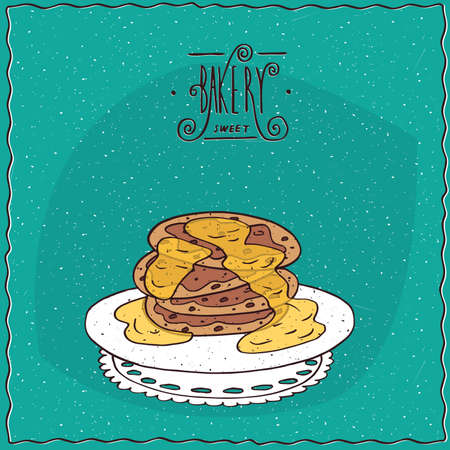 afters: Stack of pancakes with honey, lie on lacy napkin. Cyan background and ornate lettering bakery. Handmade cartoon style