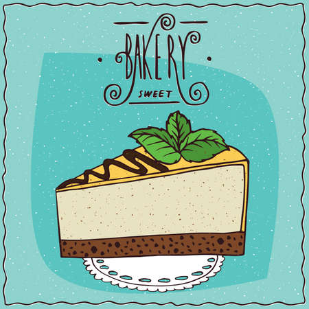 cheese cartoon: Beautiful cheesecake or a piece of cake with yellow or lemon coated with mint leaves on top, lie on a lacy napkin. Ornate lettering bakery. Handmade cartoon style