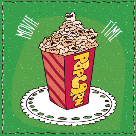 to lie: Bright cardboard box with a heap of popcorn, lie on lacy napkin. Green background and lettering Movie time. Handmade cartoon style