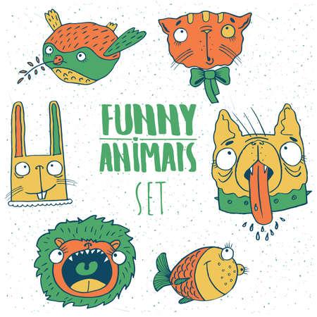 Set of animal emblems in red green tones with bird, cat, dog, fish, lion, rabbit. Handmade cartoon style Illustration