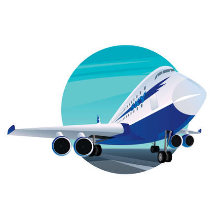 Round emblem on a white background with a modern passenger plane with the inscription sky. Front view