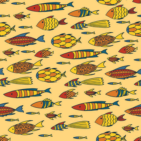 shoal: Seamless pattern with shoal of small different fishes on yellow background. Handmade cartoon style Illustration