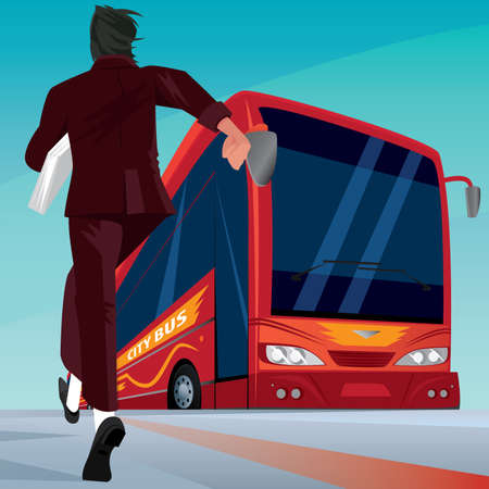 autobus: Young adult man in a business suit at the road running to red modern passenger bus. Missing or late concept Illustration
