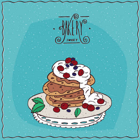 afters: Stack of pancakes with sour cream and red berries, cherry or currant, lie on lacy napkin. Blue background and ornate lettering bakery. Handmade cartoon style