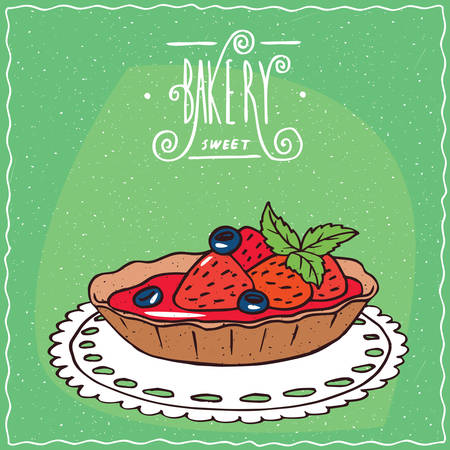 Tartlet with blue berries and fresh strawberries, lie on lacy napkin. Green background and ornate lettering bakery. Handmade cartoon style