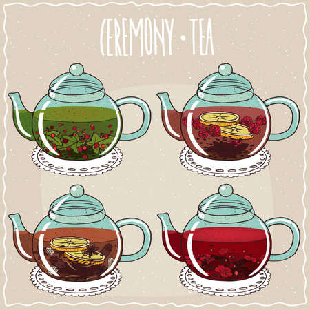 brewed: Set of different brewed flower and berry teas, with currant, raspberry, anise, hibiscus. Beige background and ornate lettering Ceremony tea. Handmade cartoon style