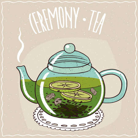 Transparent glass teapot with hot brewed tea with ginger and lime, lie on a lacy napkin. Beige background and ornate lettering Ceremony tea. Handmade cartoon style Illustration