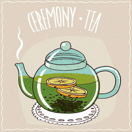 Transparent glass teapot with hot brewed green tea with lemon, lie on a lacy napkin. Beige background and ornate lettering Ceremony tea. Handmade cartoon style