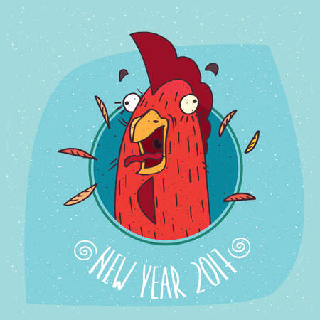 harbinger: Cartoon funny cock or rooster with her mouth open screaming in round frame on blue background. New Year 2017 lettering