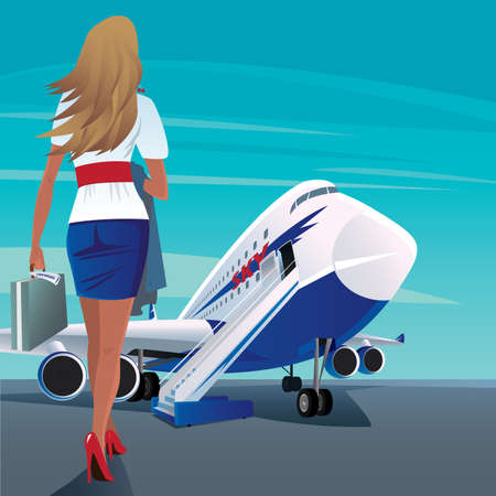 Beautiful young adult woman in a short skirt walks slowly to big modern passenger plane. In case one hand, and in the other hand outerwear. Business trip concept