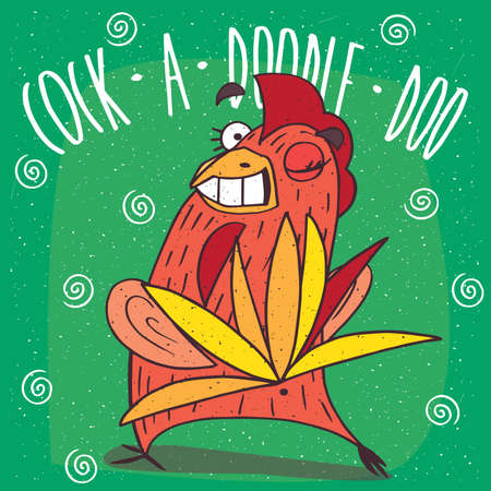 Cartoon perky cock or rooster turned his back, spreading the tail like a peacock and winks. Green background and Cock a doodle doo lettering Illustration