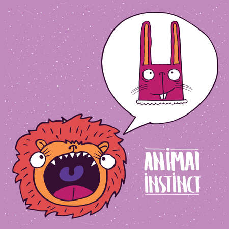 instinct: Cute lion with open mouth, dreams of a rabbit. Animal instinct concept. Handmade cartoon style