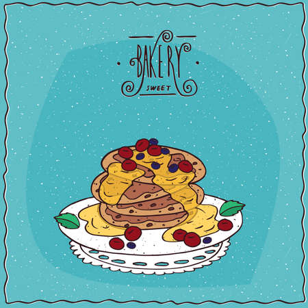 afters: Stack of pancakes with honey and red berries, cherry or currant, lie on lacy napkin. Blue background and ornate lettering bakery. Handmade cartoon style