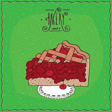 Tasty red berry pie, cherry or currant, lie on lacy napkin. Green background and ornate lettering bakery. Handmade cartoon style