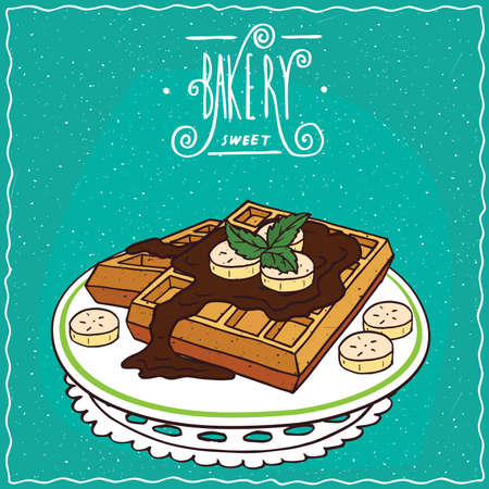 Belgian waffles with chocolate and banana on plate, lie on lacy napkin. Cyan background and ornate lettering bakery. Handmade cartoon style