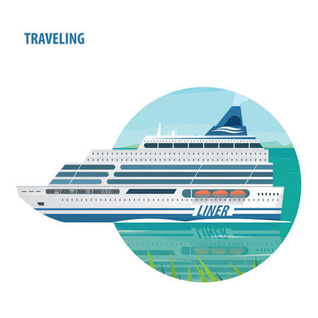 cruise liner: Round emblem on white background with big beautiful cruise liner floats on flat surface of sea on a clear day. Side view. Journey or traveling concept